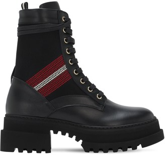 Bally 65mm Giois Leather & Fabric Combat Boots