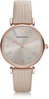 Emporio Armani T-Bar Rose gold-tone PVD Stainless Steel Women's Quartz Watch w/Leather Strap