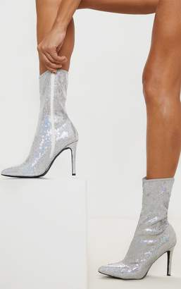 PrettyLittleThing Silver Sequin Point Toe Ankle Boot