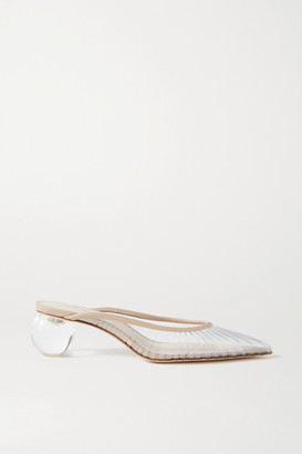 Cult Gaia Alia Perspex And Leather Mules - Clear