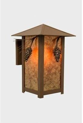Mica Aitken Outdoor Wall Lantern Loon Peak Finish: Black, Shade Type: Amber