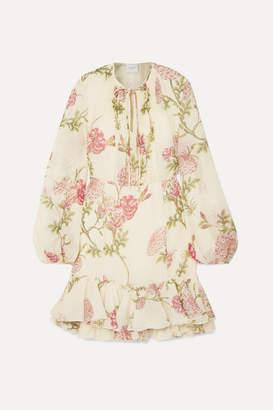 Giambattista Valli Ruffled Floral-print Silk-chiffon Mini Dress - Ivory