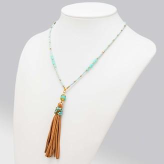 Abbott Collection 54-BOHO-NK-6691 Turq Bead Necklace w/Tassel-15 L