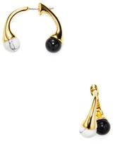 Noir Black & White Turquoise Ball Ear Jacket