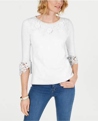 Charter Club Petite Bell-Sleeve Embroidered Top
