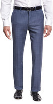 Theory Marlo U. Camley Plaid Wool Straight-Leg Suit Pants, Blue
