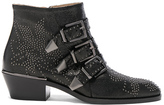 Chloé Susanna Metallic Leather Studded Booties in Black.