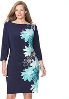 Chaps Plus Size Floral Pleated Sheath Dress