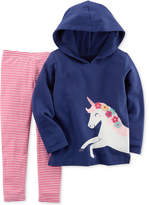 Carter's 2-Pc. Unicorn Hoodie & Striped Leggings Set, Baby Girls