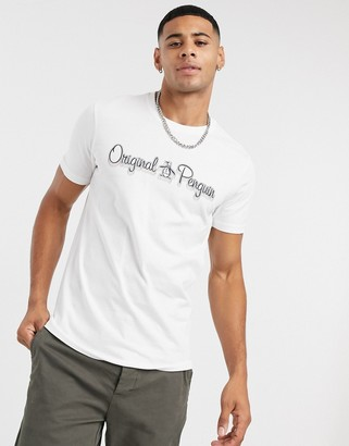 Original Penguin T-shirt in white with multi logo
