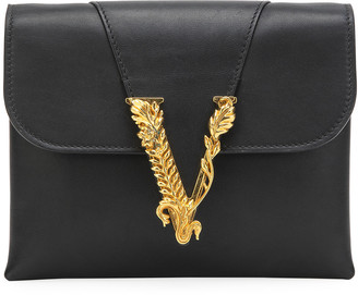 Versace Virtus Leather Evening Shoulder Bag