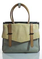 Reed Krakoff Green Ivory Leather Gunmetal Tone Hardware Boxer Tote Handbag