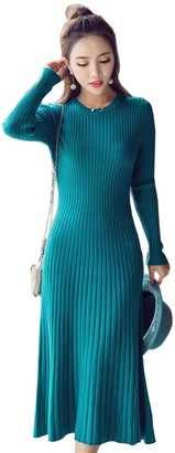 TOPJIN Womens A Line Slim Fit Round Neck Pullover Wool Cable Knit Base Sweater Dress Green M