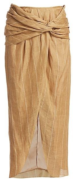 Johanna Ortiz Wrapped Slit Midi Skirt