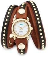 La Mer Women's LMSW3001 Brown Gold Bali Stud Wrap Watch