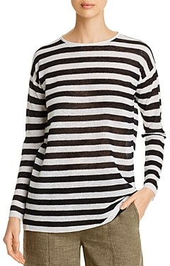 Eileen Fisher Petites Organic Linen-Blend Striped Tunic - 100% Exclusive