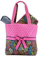 Belvah Quilted Multi Paisley 3pc. Diaper Tote Bag - Choice of Colors