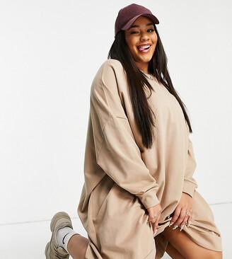 ASOS DESIGN Curve oversized sweatshirt dress in camel