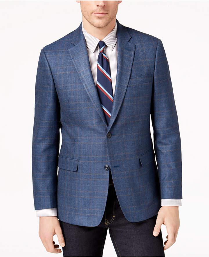 Tommy Hilfiger Men's Modern-Fit Blue/Brown Plaid Silk and Wool Sport Coat
