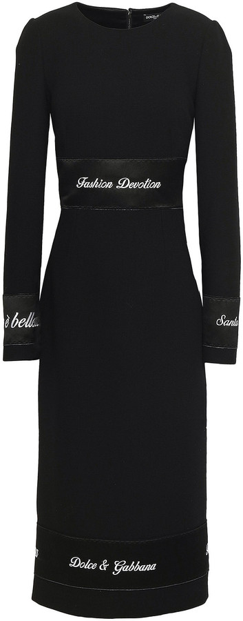 Thumbnail for your product : Dolce & Gabbana Embroidered Satin-trimmed Wool-crepe Midi Dress