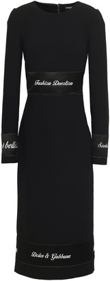 Dolce & Gabbana Embroidered Satin-trimmed Wool-crepe Midi Dress