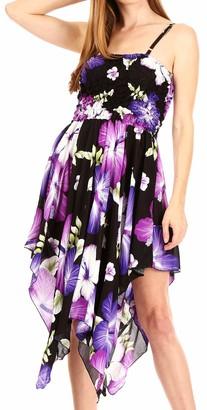 Sakkas TH349 - Hamisi Women's Tube Spaghetti Strap Floral Print Summer Casual Short Dress - B-Purple - OS