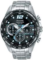 Pulsar Pulsar Men's solar chronograph watch with a stainless steel case and bracelet featuring a black dial