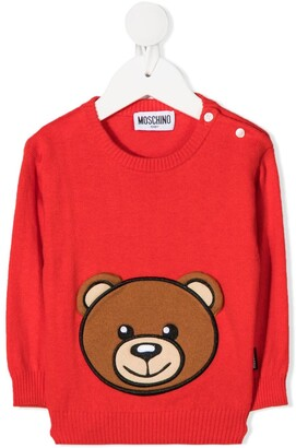 MOSCHINO BAMBINO Long Sleeve Teddy Patch Sweater
