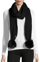 Calvin Klein Ribbed Scarf with Faux Fur Pom Poms