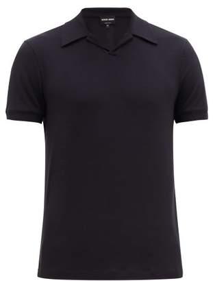 Giorgio Armani Cotton Jersey Polo Shirt - Mens - Navy