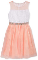 Sequin Hearts Embellished Waist Mesh Dress, Big Girls (7-16)