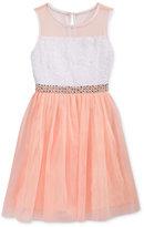 Sequin Hearts Embellished Waist Mesh Dress, Big Girls (7-16)