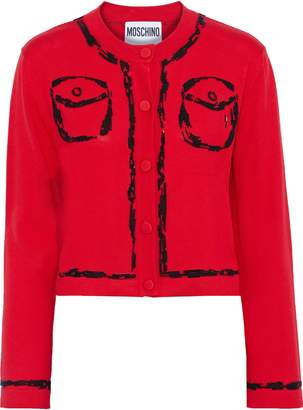 Moschino Cropped Bead-embellished Cotton And Cashmere-blend Cardigan