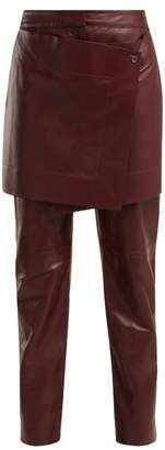 Sies Marjan Judie Apron Panelled Leather Trousers - Womens - Burgundy