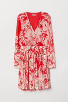 H&M Patterned Wrap-front Dress - Red