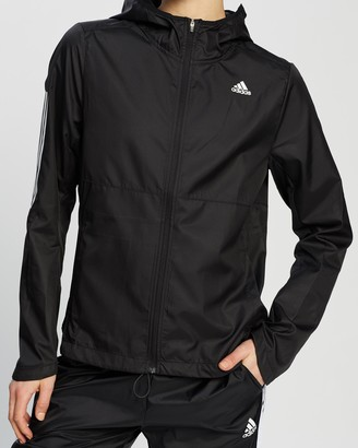 adidas Women's Black Jackets - Own The Run Hooded Wind Jacket - Size XS at The Iconic