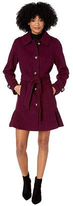 Kate Spade Military Shoulder Single Breasted Trench Coat (Rich Eggplant) Women's Clothing