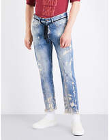 Off-White Paint-splattered distressed cropped straight-leg jeans