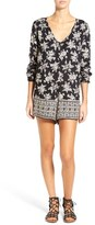 Volcom 'On the Brink' Floral Print Long Sleeve Romper