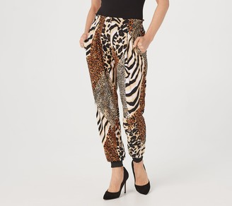 Women With Control Attidues by Renee Petite Too Chic To Sweat Printed Jogger Pants