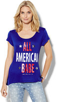 "New York & Co. Scoopneck Tee - Metallic ""All American Babe"" Graphic"