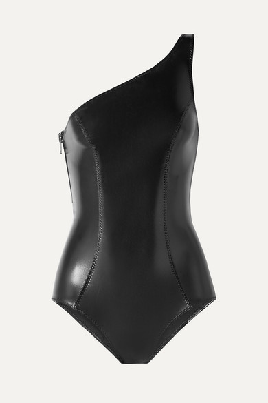 Lisa Marie Fernandez Arden One-shoulder Stretch-pvc Swimsuit - Black