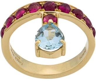 Dubini 18kt yellow gold, aquamarine and rubellite Theodora ring