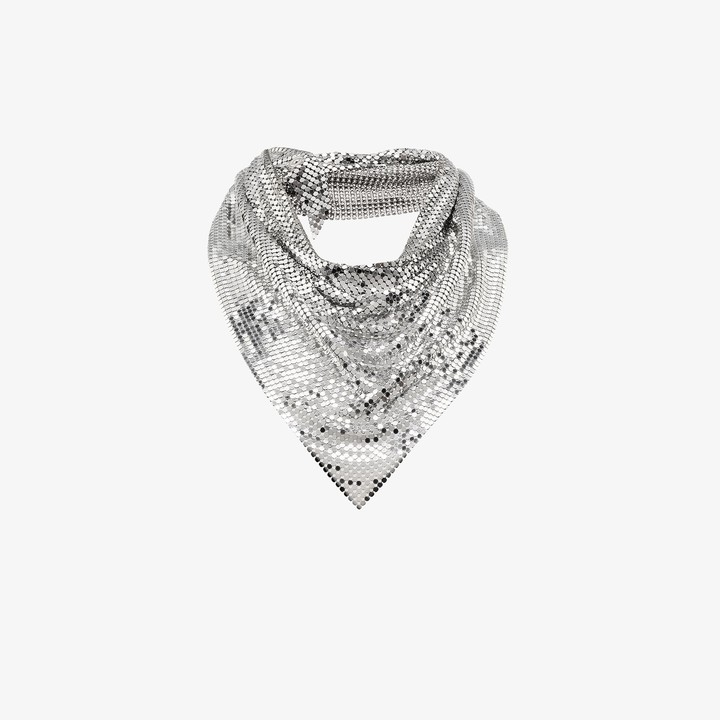 Paco Rabanne Silver tone draped metal mesh necklace