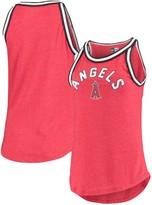 New Era Women's Heathered Red Los Angeles Angels Tri-Blend Raw Edge Jersey Tank Top