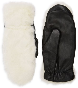 RENVY Faux Fur & Leather Gloves