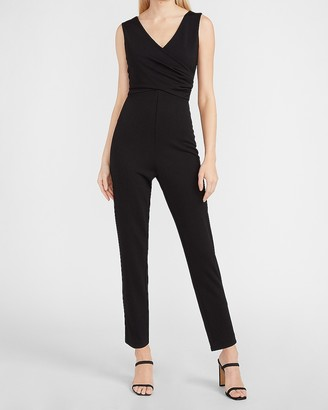 Express Ruched Wrap Front Jumpsuit