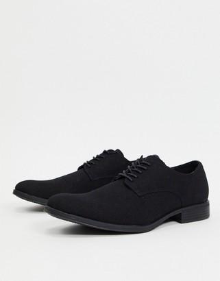 Jack and Jones faux suede derby shoe in black