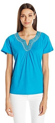 Sag Harbor Women's S/Notch Neck Placket with Stones Jersey Tee