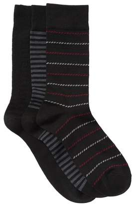 Nordstrom Ultra Soft Stripes Texture Crew Socks - Pack of 3